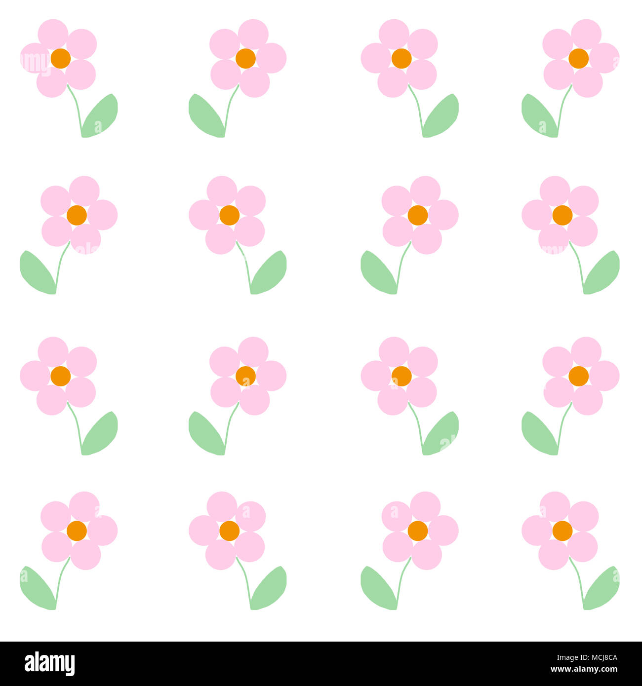 cute illustrated baby pink flowers. simple print to be used as a
