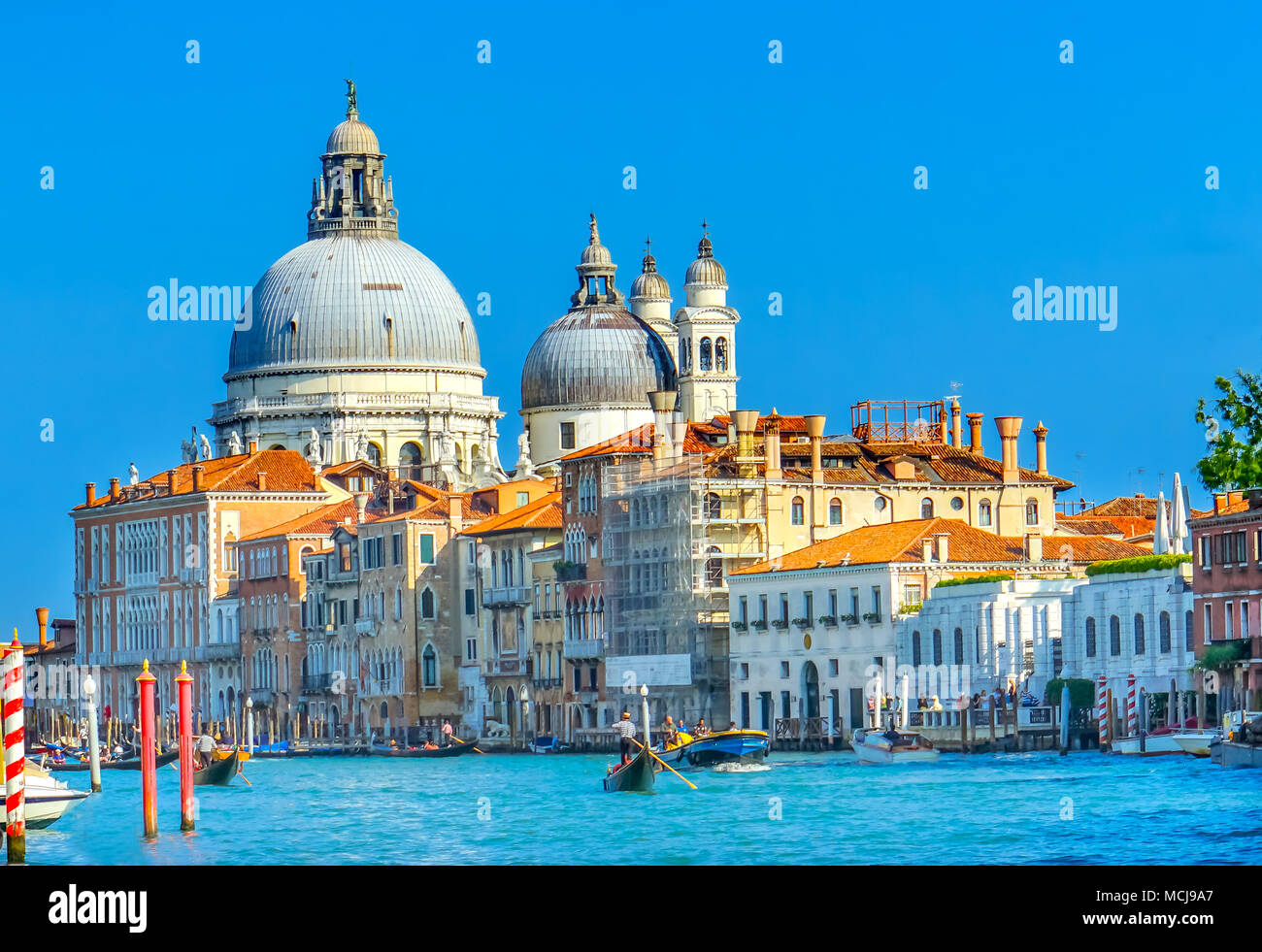 Grand Canal Santa Maria della Salute Church from Ponte Academia Bridge Gondolas Venice Italy Stock Photo
