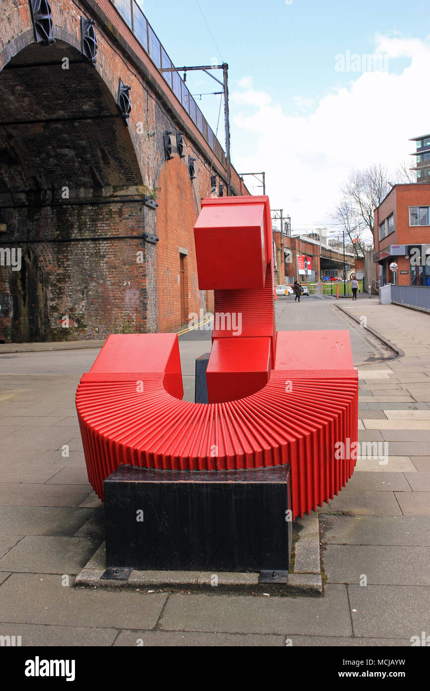 A Sculpture, The Generation of Possibilities, by Paul Frank Lewthwaite to mark the 175th anniversary of Umist in 1999.Image no 1 in a series of 5. - Stock Image