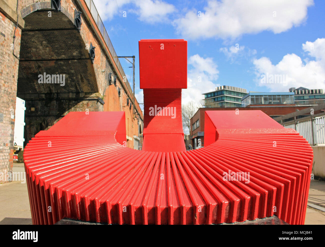 A Sculpture, The Generation of Possibilities, by Paul Frank Lewthwaite to mark the 175th anniversary of Umist in 1999. Image no 3 in a series of 5. - Stock Image