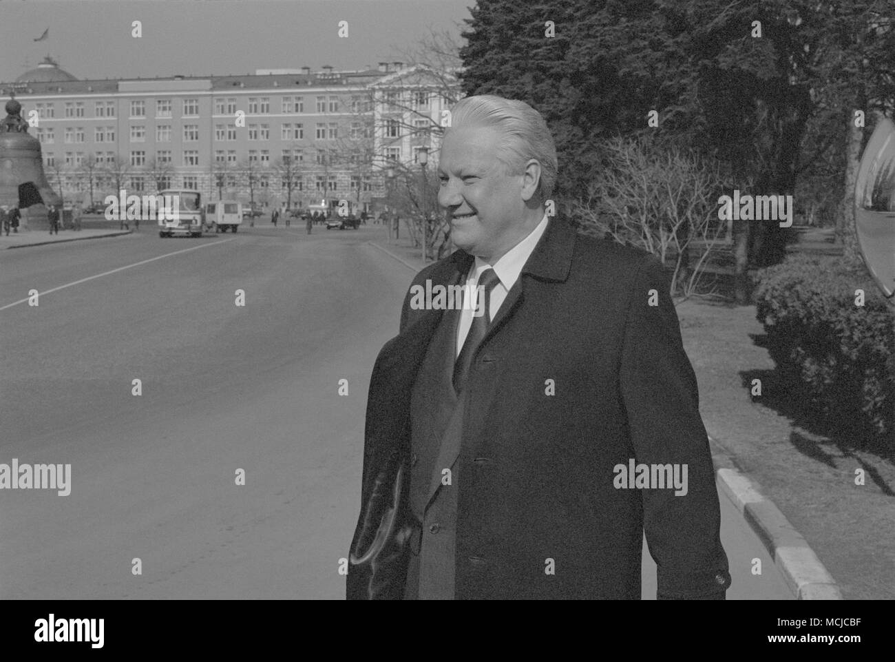 Moscow, USSR - March 28, 1991: Chairman of the Presidium of the Supreme Soviet of the Russian SFSR Boris Nikolayevich Yeltsin walks outdoors in Kremlin. - Stock Image