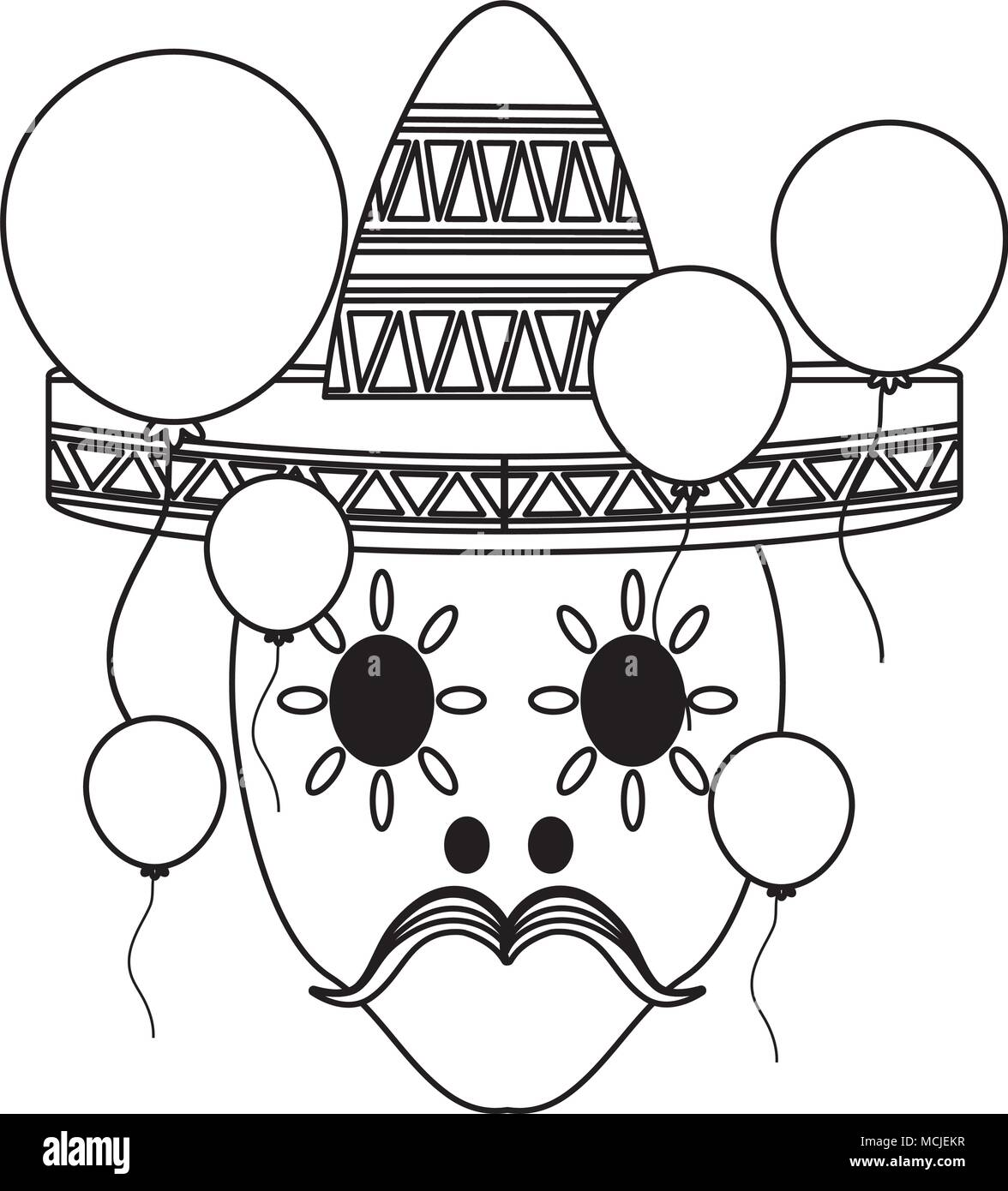 sugar skull with mexican hat and decorative balloons around over white background, vector illustration - Stock Image