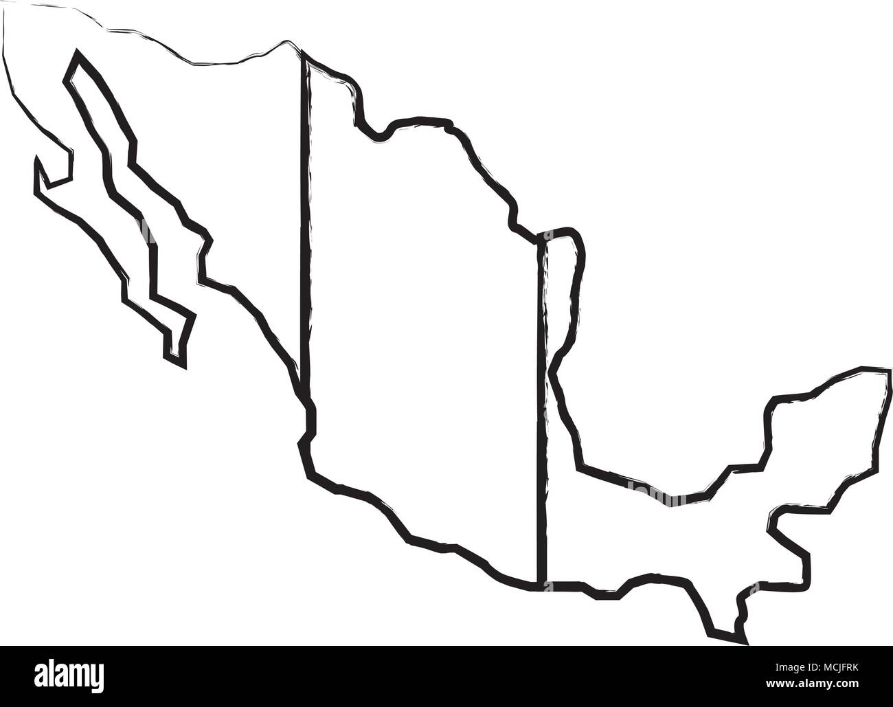 sketch of map of mexico icon over white background, vector illustration - Stock Image