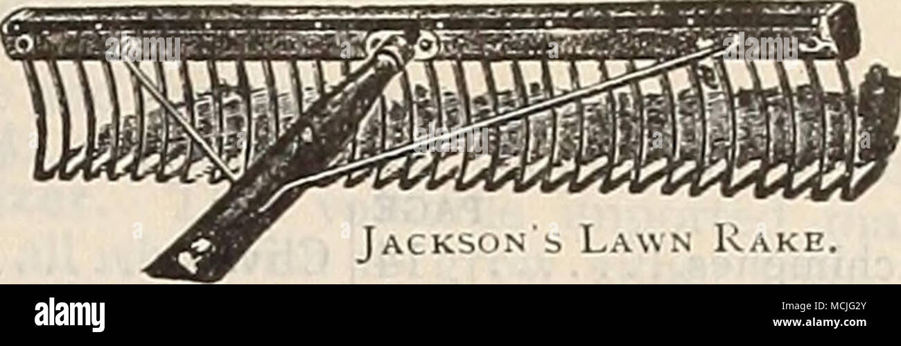 """. Jacks'jn s Lawn Kake. MMAimMl- """"mmssmm^ Hustler Lawn Rake. Lawn King Rakr. Hot-bed Sash. SiBVEb Plant Bed Cloth. MISCELLANEOUS TOOLS, Btc.—Con^i7med. Plant Bed Protecting' Cloth. A cheap substitute for glass. Light grade, 4 cts. per yard, per piece of about 70 yards, per yard, S-J cts. Medium grade, 8 cts. per yard, per piece of about 60 yards, per yard, 7 J cts. Heavy grade, lOJ cts. per yard, per piece of about 50 yards, per yard. . $0 10 Bakes. Steel, shortteeth, for walks, 14 teeth, 40 cts.; 16 teeth, 50 cts.; 18 teeth, 60 """" Ames'Lawn, wooden teeth, 60 cts.; Eureka Lawn, looped - Stock Image"""
