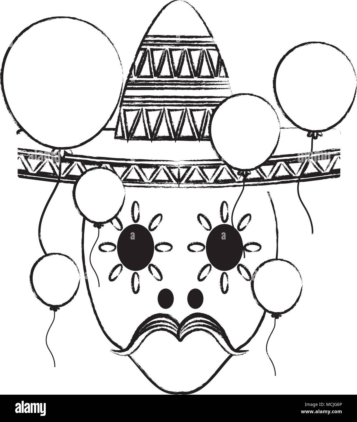 sketch of sugar skull with mexican hat and decorative balloons around over white background, vector illustration - Stock Image