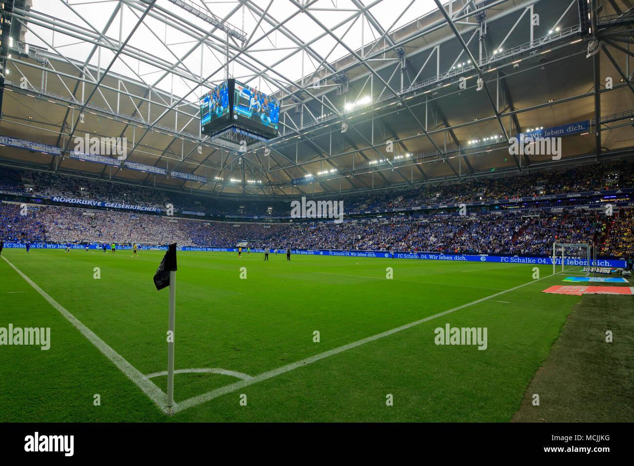 sports, football, Bundesliga, 2017/2018, FC Schalke 04 vs BVB Borussia Dortmund 2:0, Veltins Arena Gelsenkirchen, sports field, corner flag, stand, roof construction, opened roof - Stock Image