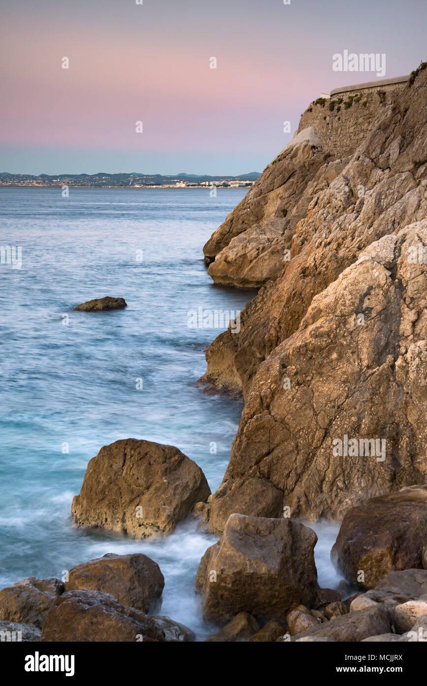 Rocky Coastline of Nice - France - Stock Image