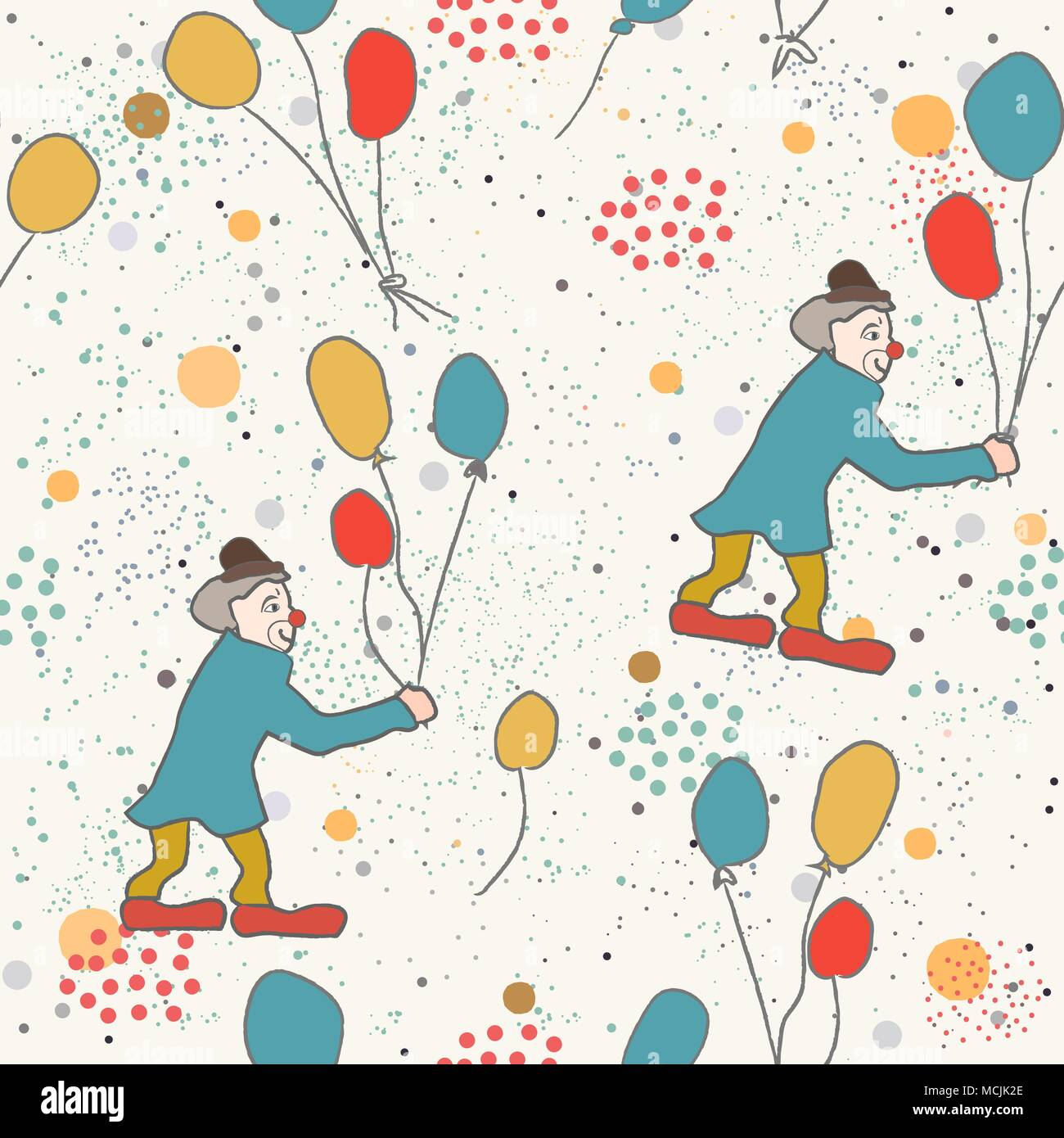 hand drawn seamless pattern with clown and balloons great for
