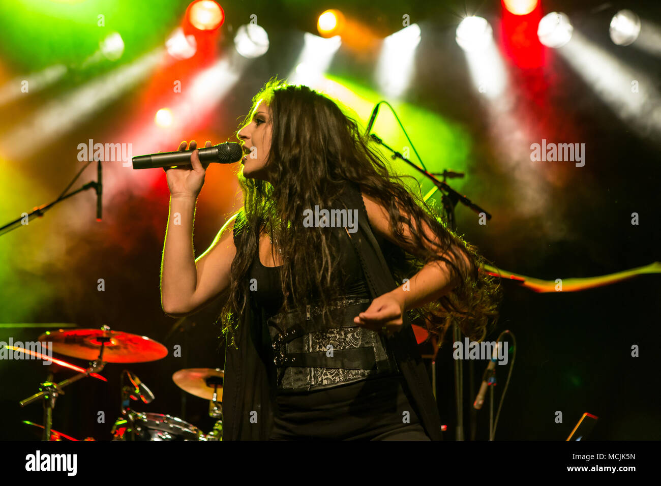 The Austrian Symphonic-Metal-Band Serenity with singer Georg Neuhauser and singer Natascha Koch live in the Schüür Lucerne - Stock Image