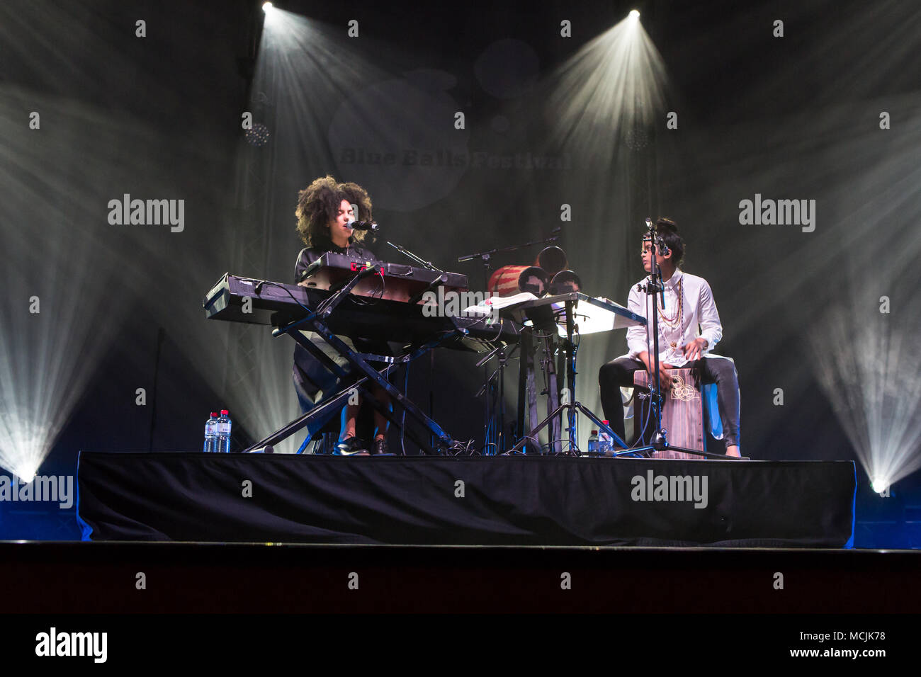 The French-Cuban music duo Ibeyi, which consists of the twin sisters Lisa-Kaindé and Naomi Díaz, will perform live at the Blue - Stock Image