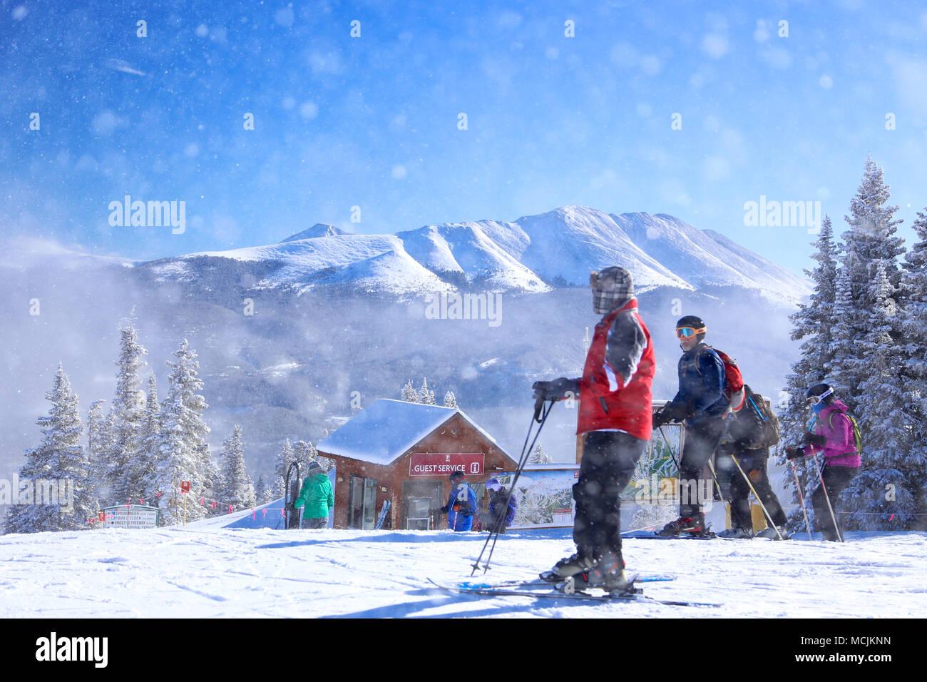 Downhill alpine skiing in Colorado at Breckenridge ski resort - Stock Image