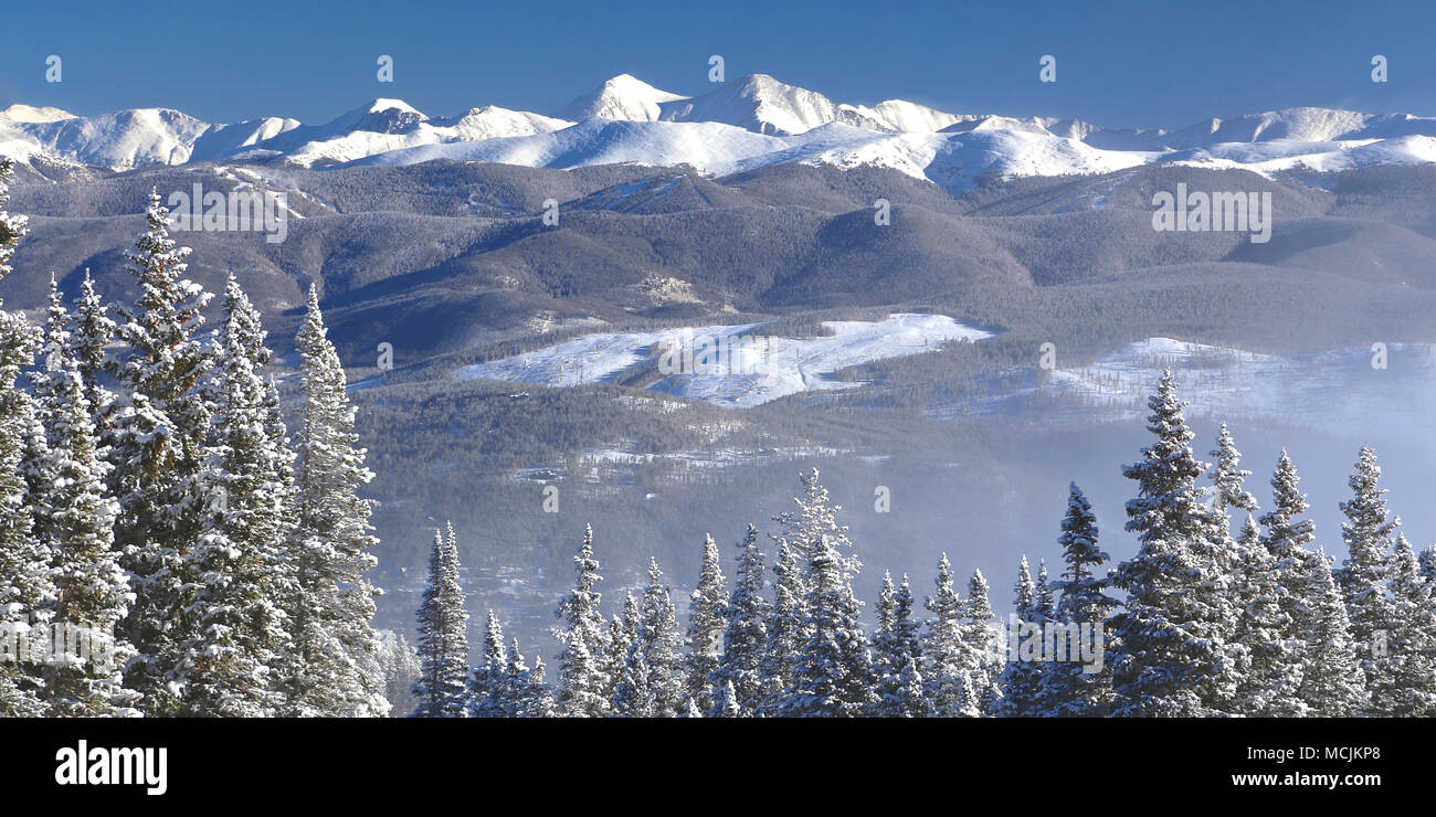 view of the snow covered colorado rocky mountains from breckenridge