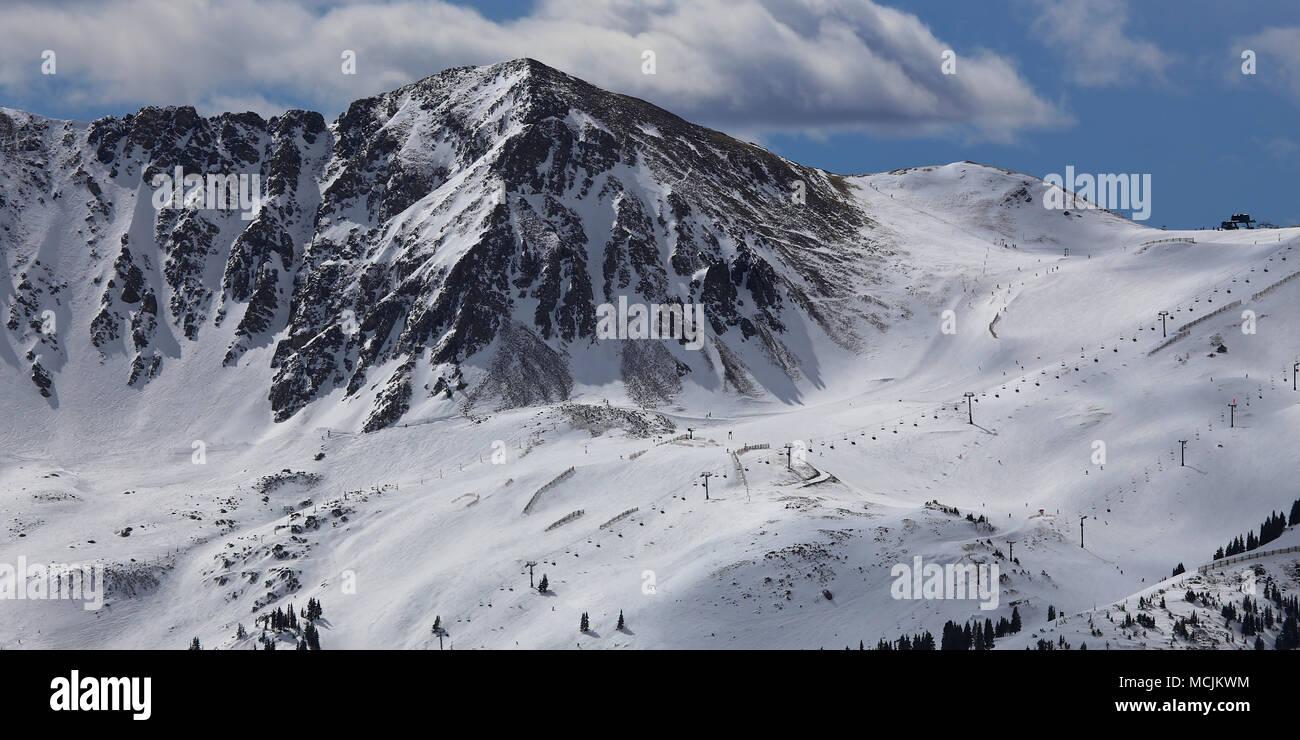 Colorado Rocky Mountains of Arapahoe Basin Ski Resort in Winter - Stock Image