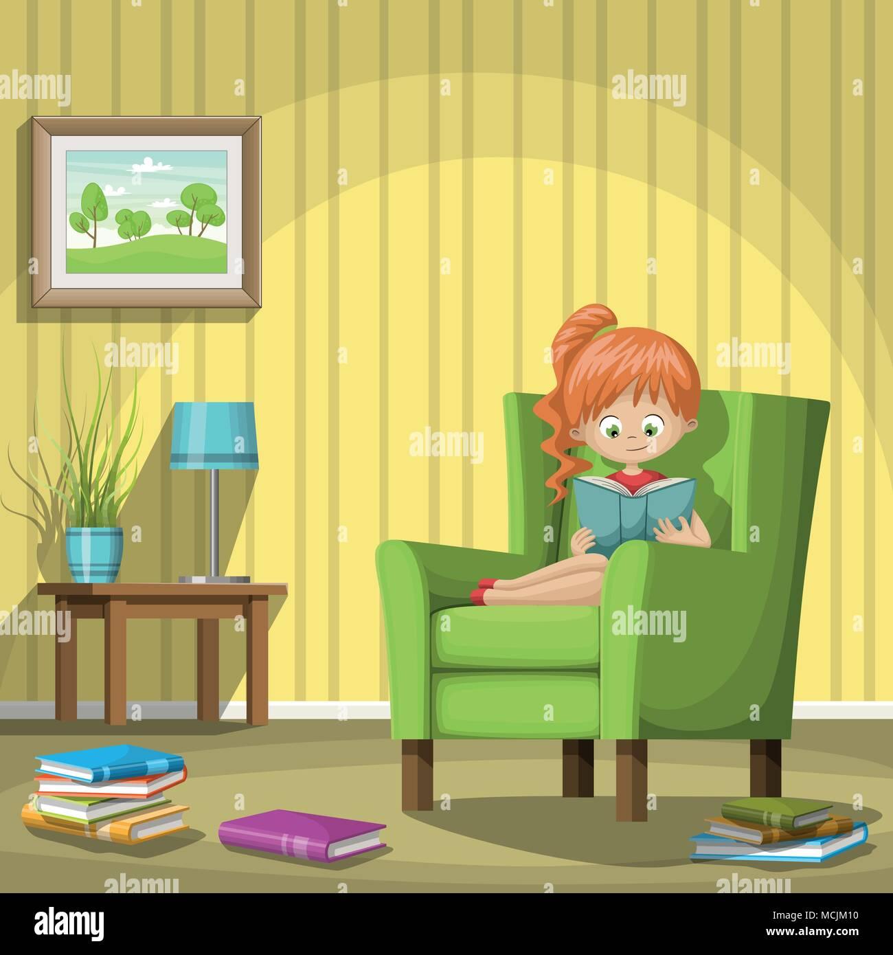 Girl Reading Books In Living Room, Vector Illustration