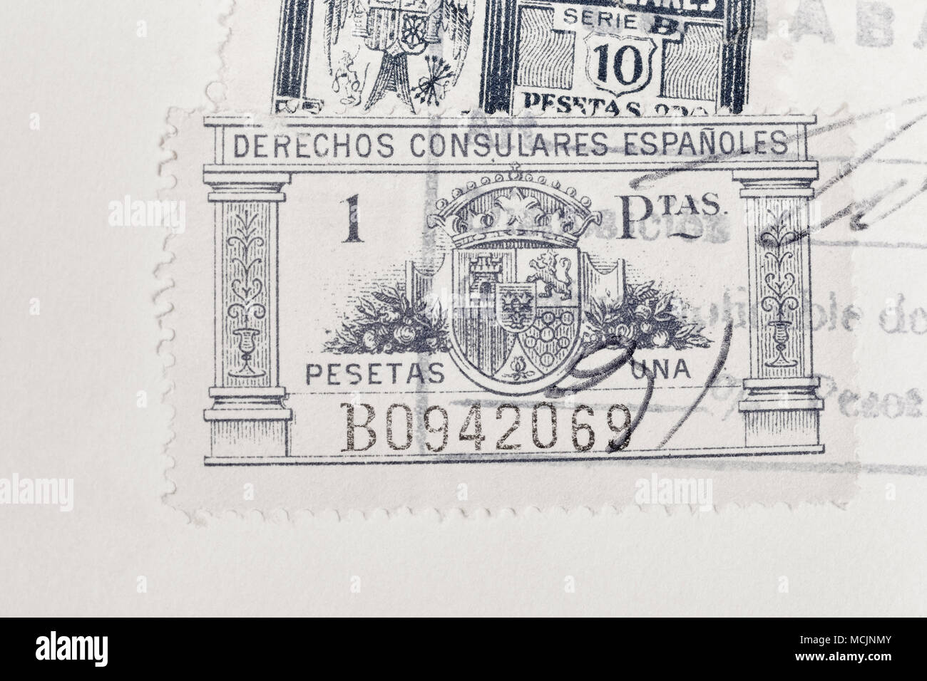 Antique spanish stamps with postmarks. Vintage historic philately. Postal. Hobby - Stock Image