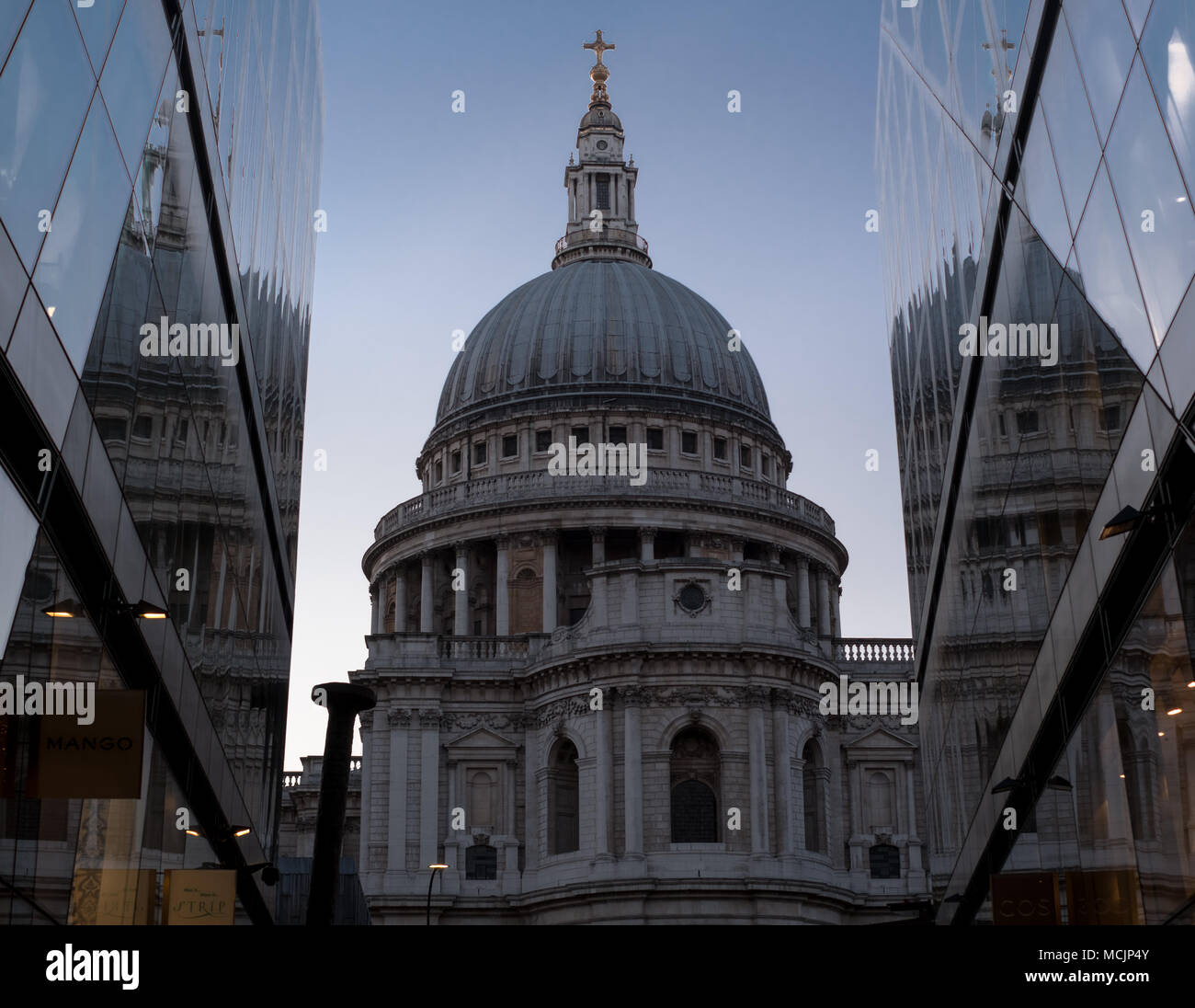 View of the dome of St Paul's Cathedral. Photographed at Blue Hour from One New Change, London UK - Stock Image