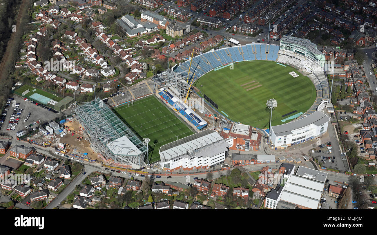 aerial view of Headingley cricket & rugby league stadiums, Leeds, UK - Stock Image