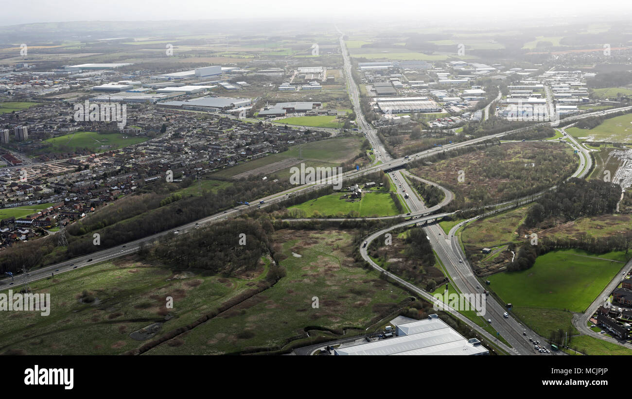 aerial view looking east of the large Knowsley Industrial Park at Kirby, Liverpool - Stock Image