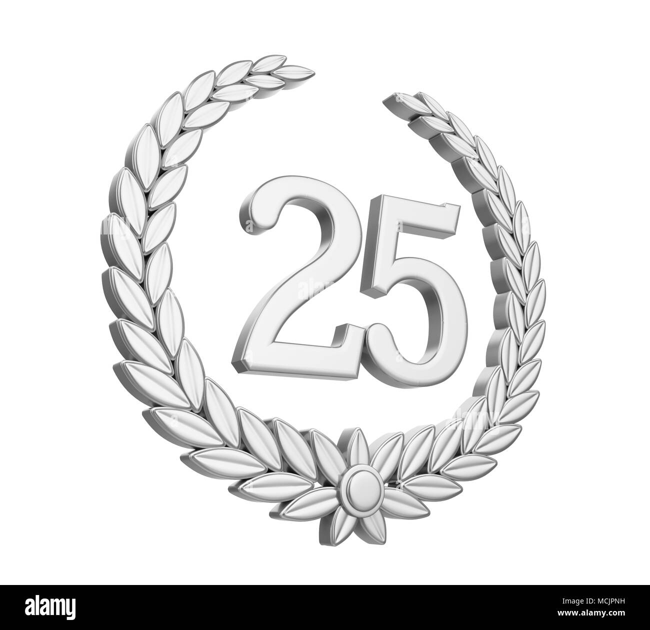 Laurel Wreath 25th Anniversary Isolated Silver Wedding Concept