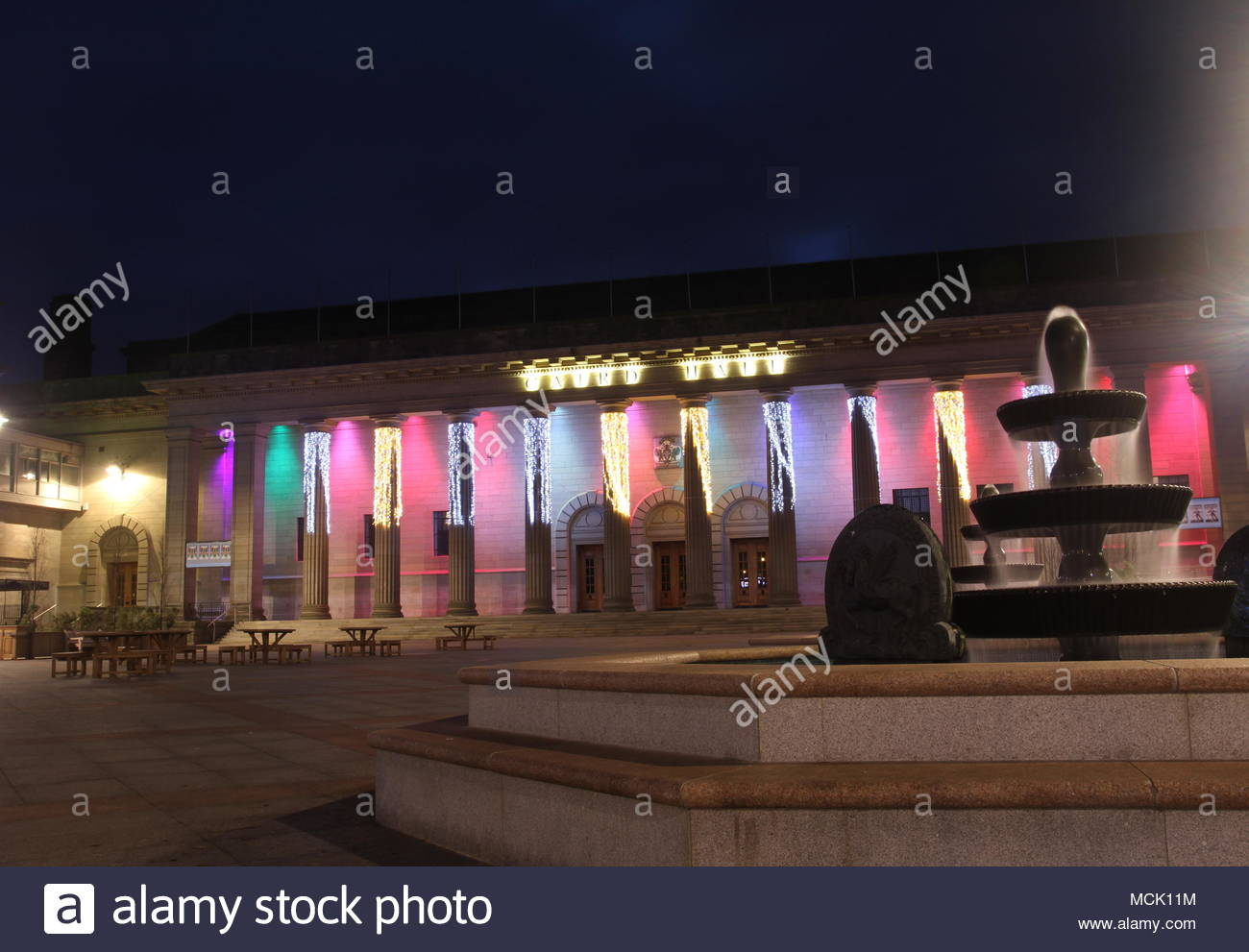 Caird Hall with Christmas lights City square Dundee Scotland  December 2013 - Stock Image