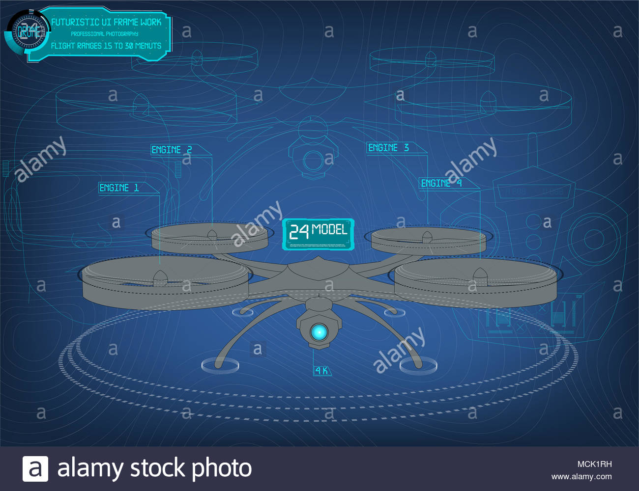Futuristic background with quadrocopter and interface HUD. Vector illustration drone. - Stock Image