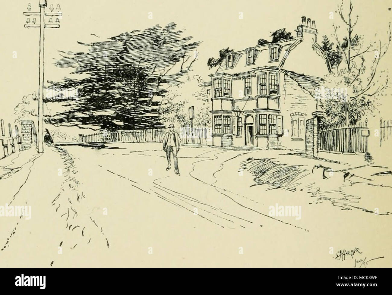 """. THE """" FALSTAFF,"""" GAD'S HILL. From here the road goes steepl}^ all the way to Strood, over Coach and Horses' Hill, and through a deep cutting made by the Highway Board about 1830, in order to ease the heavy pull up from Rochester ; a cutting known at that time as '' Davies' Straits,"""" from the name of the chairman of the Board, the Rev. George Davies. The view here, over house-tops toward the Medway, framed in on either side by this hollow road, is particularly fine, and I think I cannot come through Strood into Rochester without quoting a certain lieutenant who, with a captain  - Stock Image"""