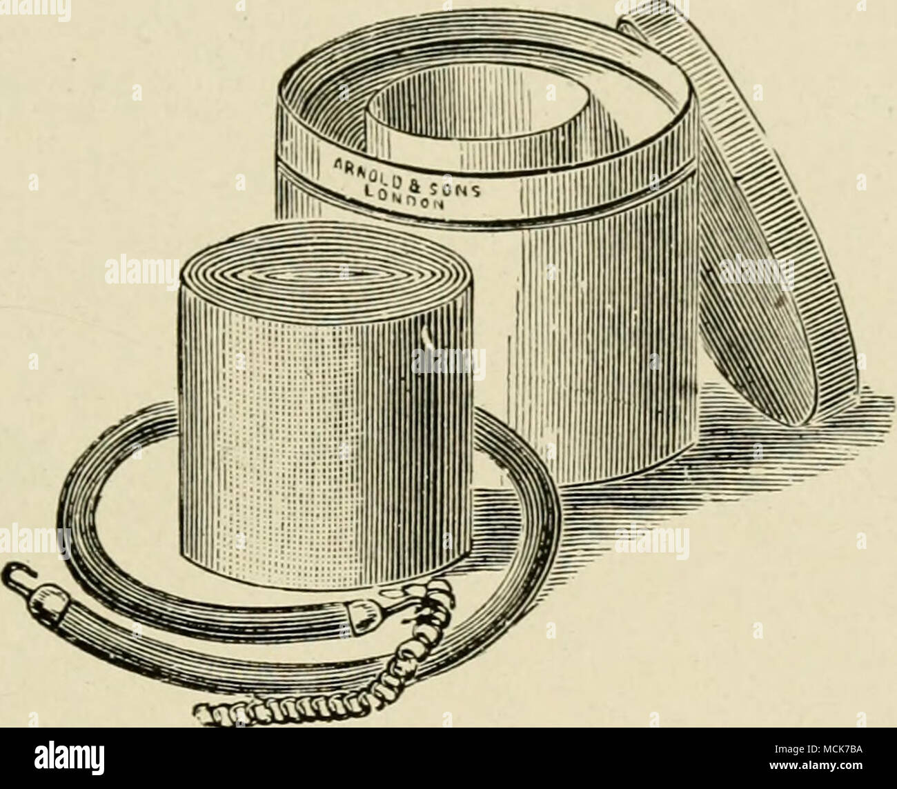 . Fig, 57.—The Esmarch Rubber Bandage and Tourniquet. an assistant By either method the inside of the limb is operated on first. Although it is not absolutely necessary, it is an advan- tage, especially to the inexperienced operator, to apply - Stock Image