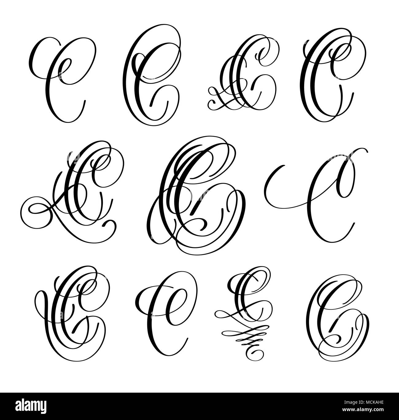 Calligraphy Lettering Script Font C Set Hand Written Signature Letter Design Vector Illustration