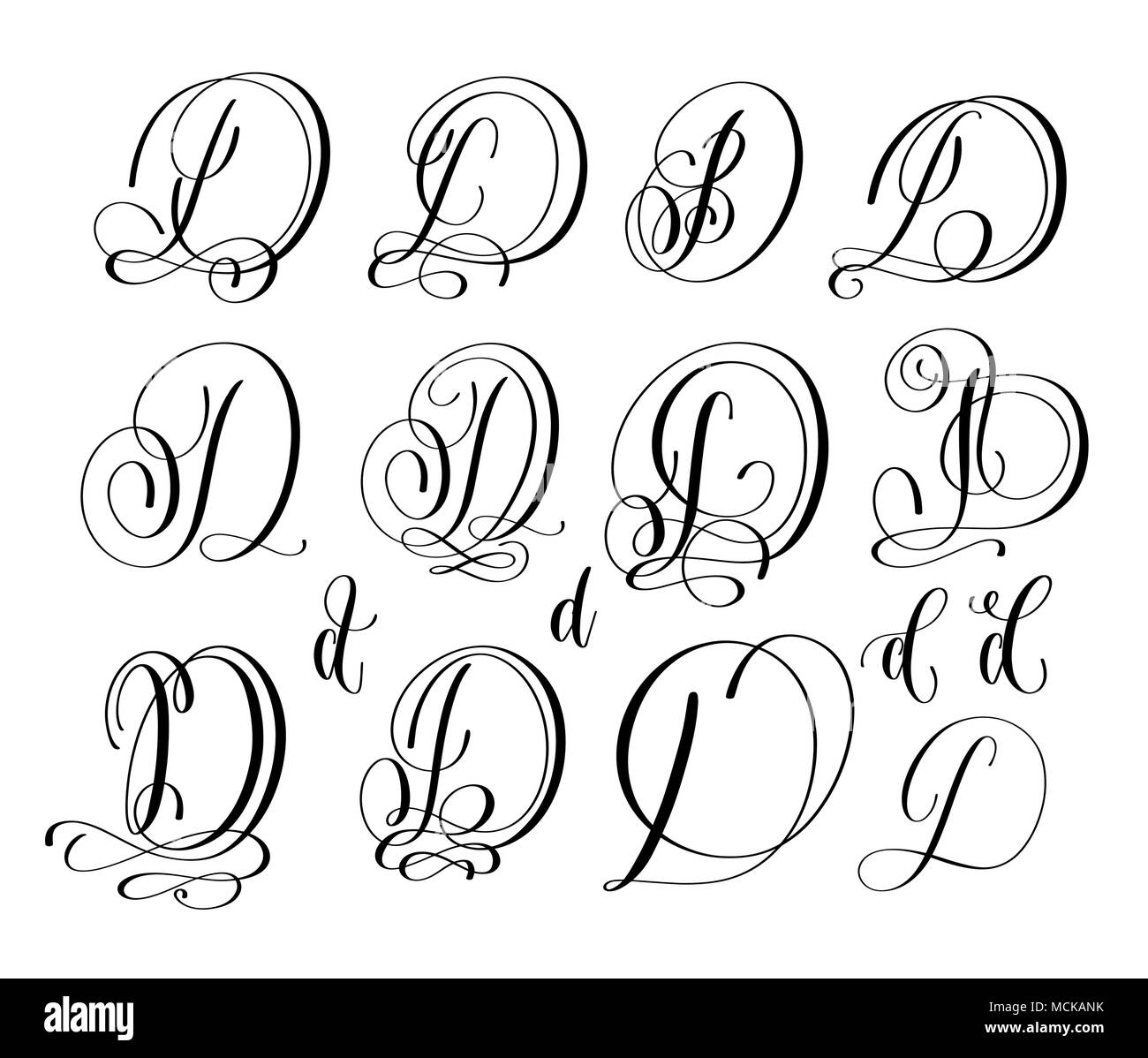 Calligraphy Lettering Script Font D Set Hand Written Signature Letter Design Vector Illustration