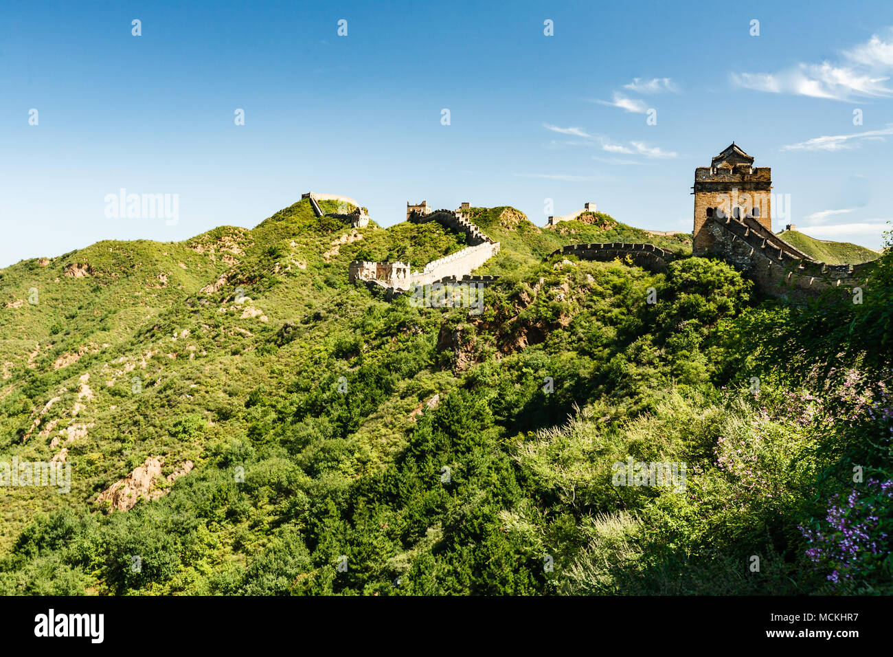 Outpost on the Great Wall of China and green countryside Stock Photo