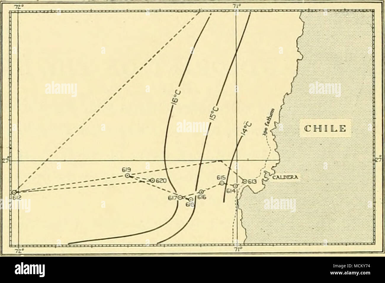 . Fig. 5- Caldera. Track of R.R.S.'William Scoresby', June 4-6. Courses set east and west, except on the limb immediately before St. WS 613. St. WS 612 was revisited after completion of St. WS 620. In this and the following charts, the track of the ship is shown as a thin broken line, and the surface isotherms as heavier continuous lines. .--^ I4°C- / -nsl 73aJ ^(A 1 605 604 603 602  I Fig. 6. Pichidanque Bay. Track of the ship, May 28-30. After St. WS 602 course set 270°; after St. WS 607 course set 090°. - Stock Image
