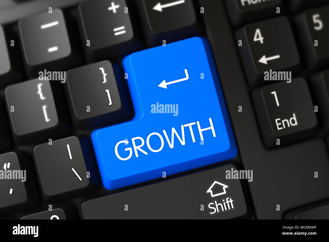 Growth CloseUp of Blue Keyboard Button. 3d Stock Photo