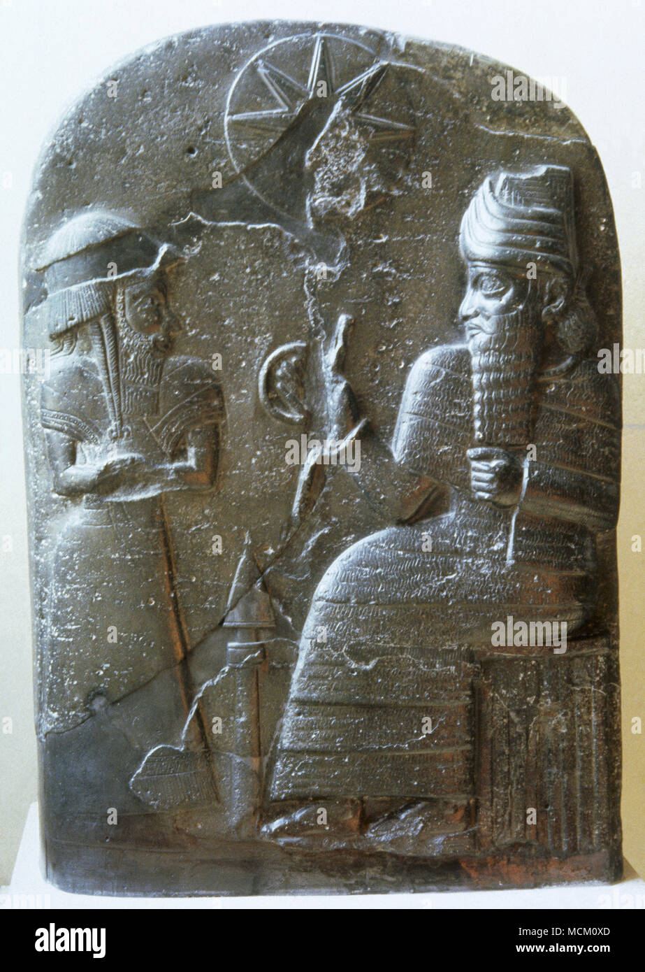 Babylonian stele usurped by Elamite King. Basalt. 1155-1185 BC. From Susa, Iraq. Louvre Museum. Paris, France. - Stock Image