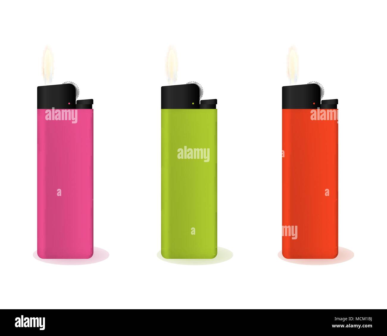 Set of multi-colored lighters. - Stock Vector