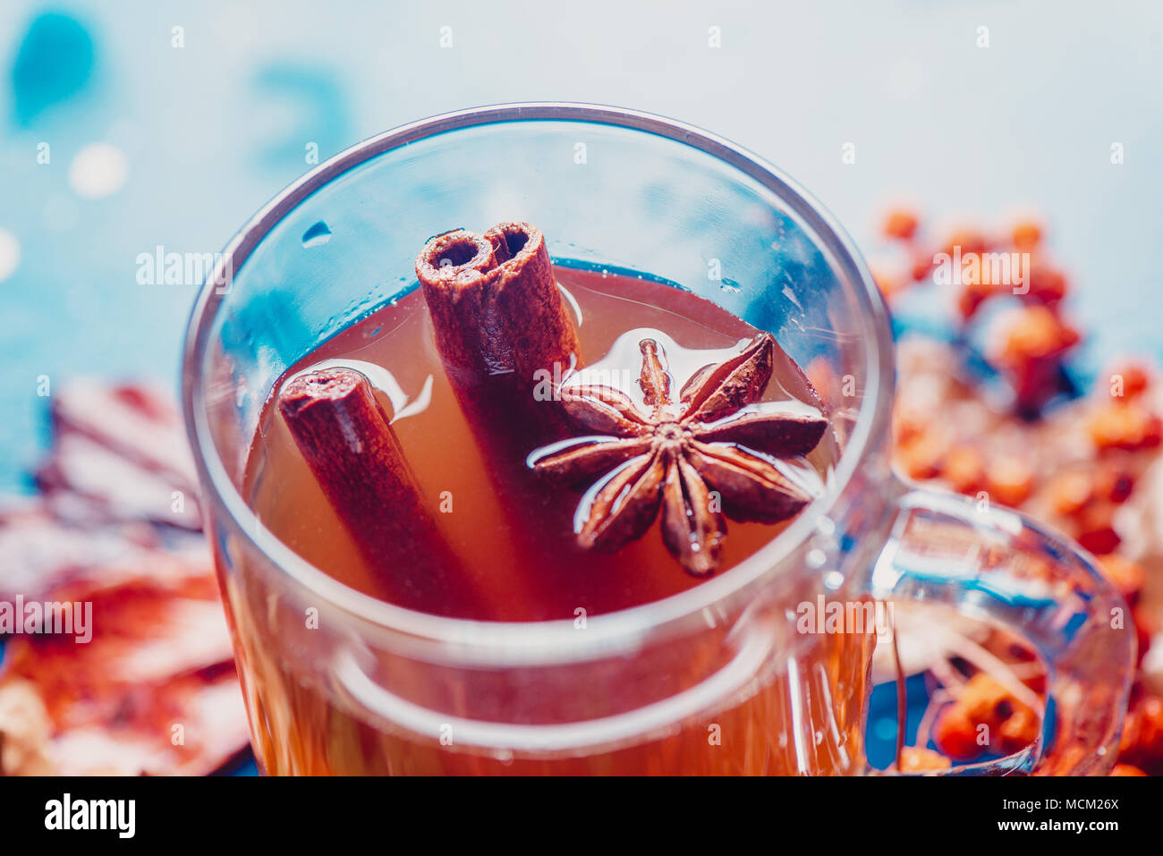 Tea cup with anise stars and cinnamon close-up. Out of focus autumn background with fallen leaves and berries. Rainy day concept with copy space. - Stock Image