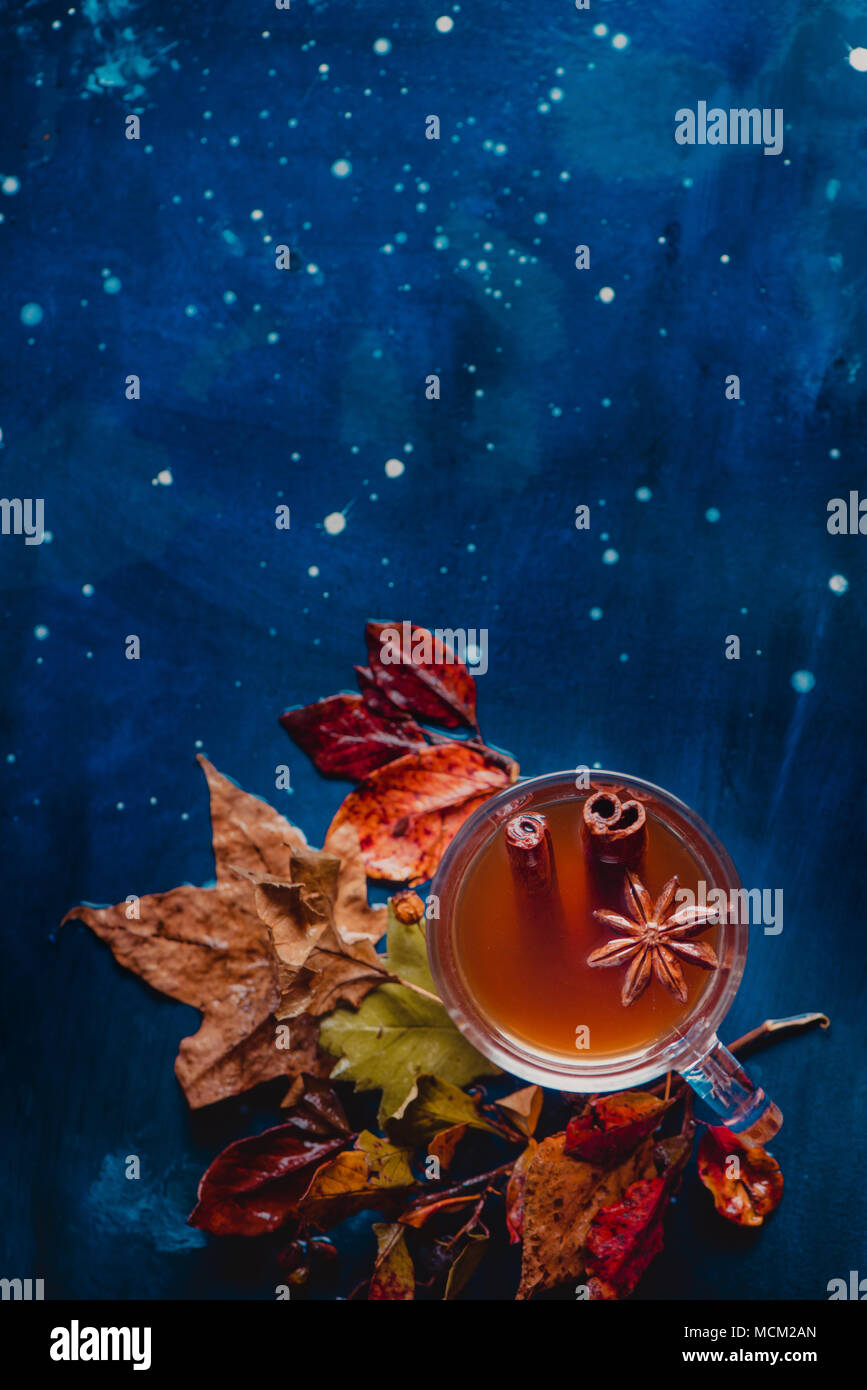 Tea cup with anise stars and cinnamon on a wet autumn background with fallen leaves and berries. Rainy day concept with copy space. - Stock Image