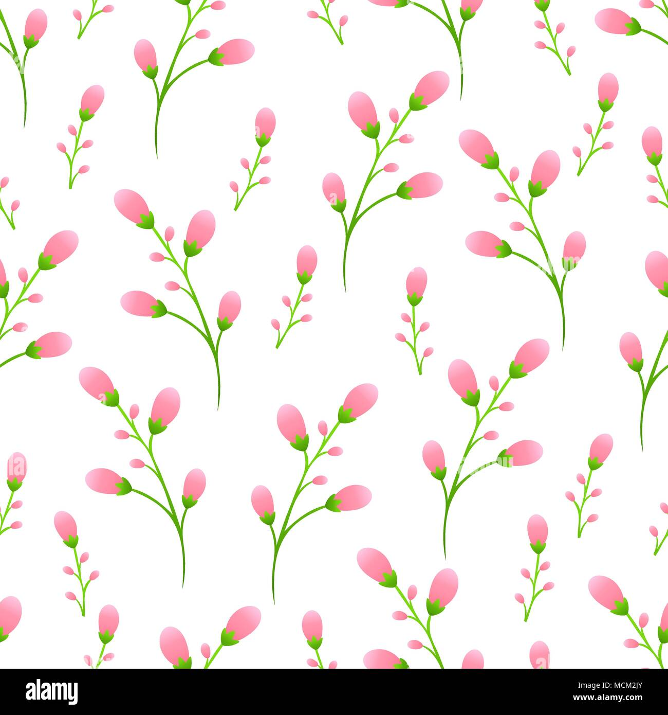 Delicate Pink Buds On The Stem Pink Flowers Seamless Pattern