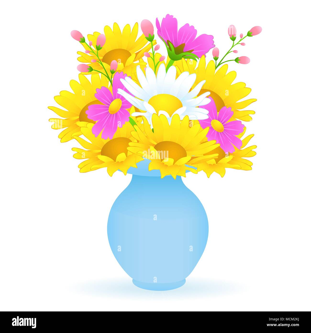 Bouquet of colorful flowers in the vase vector drawing bright bouquet of colorful flowers in the vase vector drawing bright meadow buds yellow and white chamomile and pink flower in a blue vase isolated on whit mightylinksfo