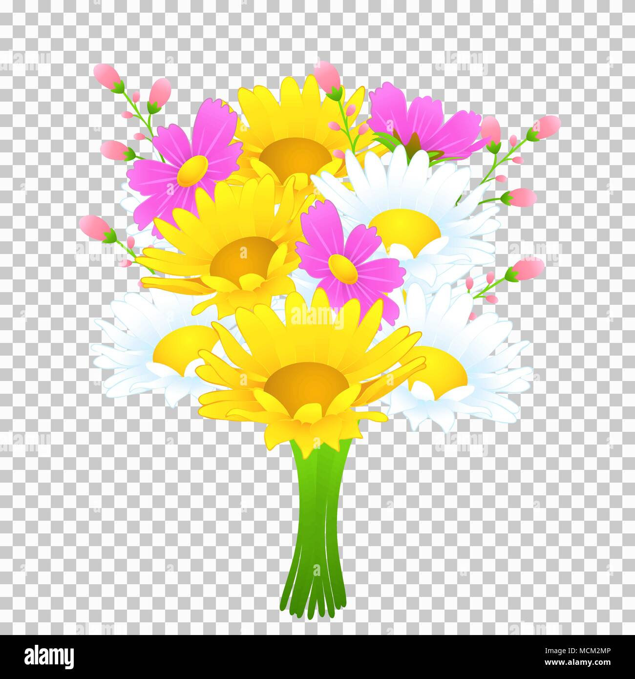 Bouquet Of Colorful Flowers Vector Drawing Bright Meadow Buds