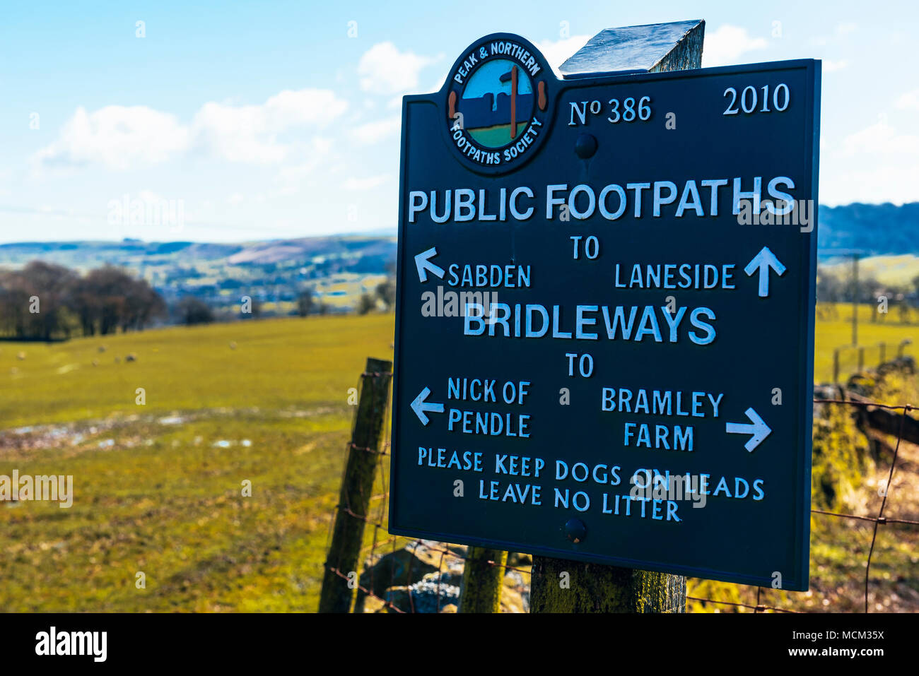 Rights of way sign on Wiswell Moor, an outlier of Pendle Hill, Lancashire, England - Stock Image