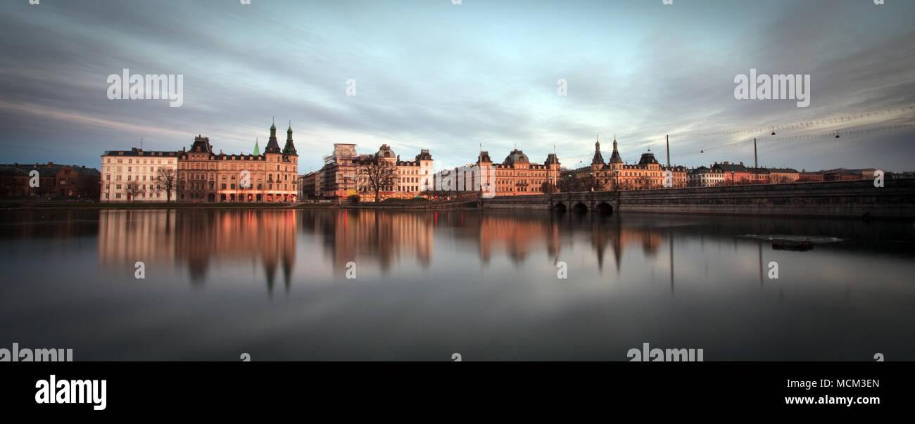 Copenhagen, Denmark - March 18, 2009: Sotorvet buildings at sunset. - Stock Image