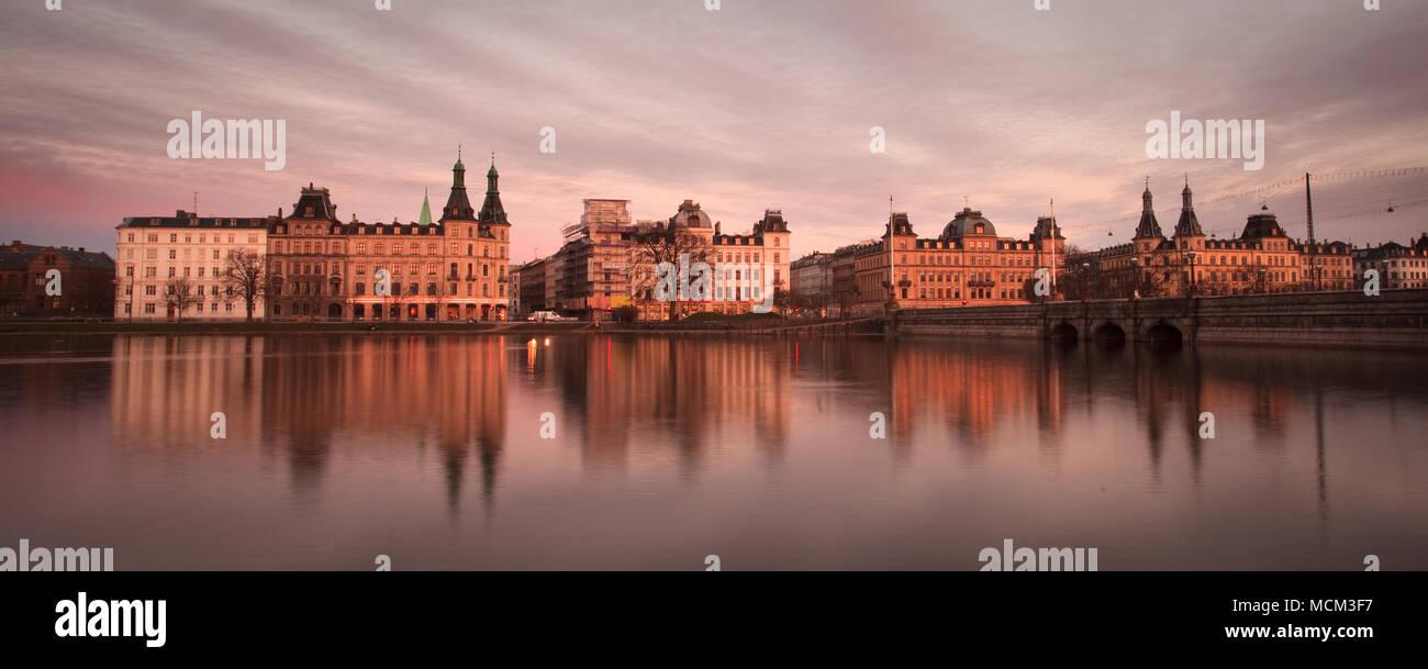 Copenhagen, Denmark - March 29, 2009: Sotorvet buildings at sunset. - Stock Image