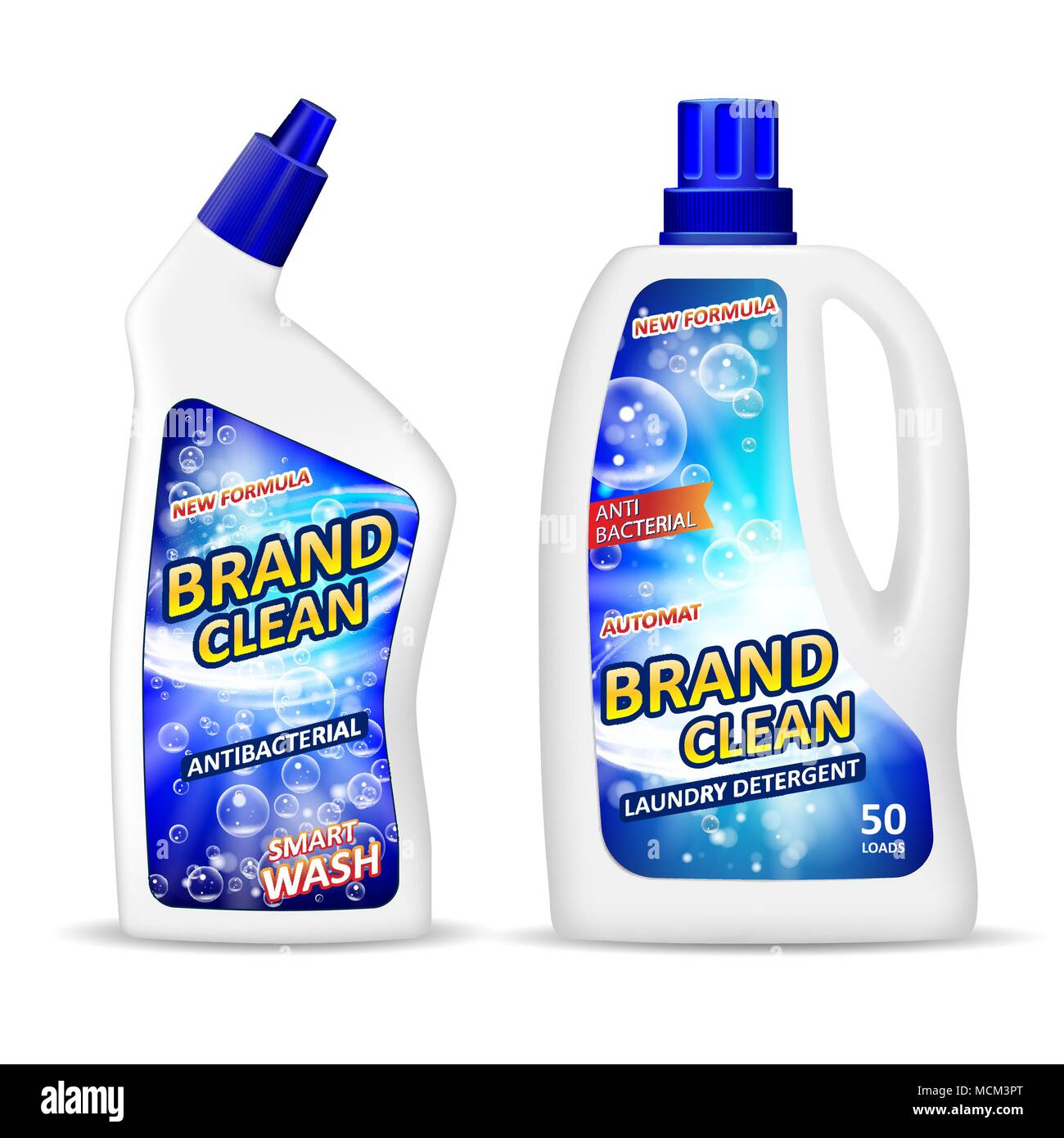 Realistic Plastic Bottle Mockup With Label Antibacterial Gel - Bathroom detergent