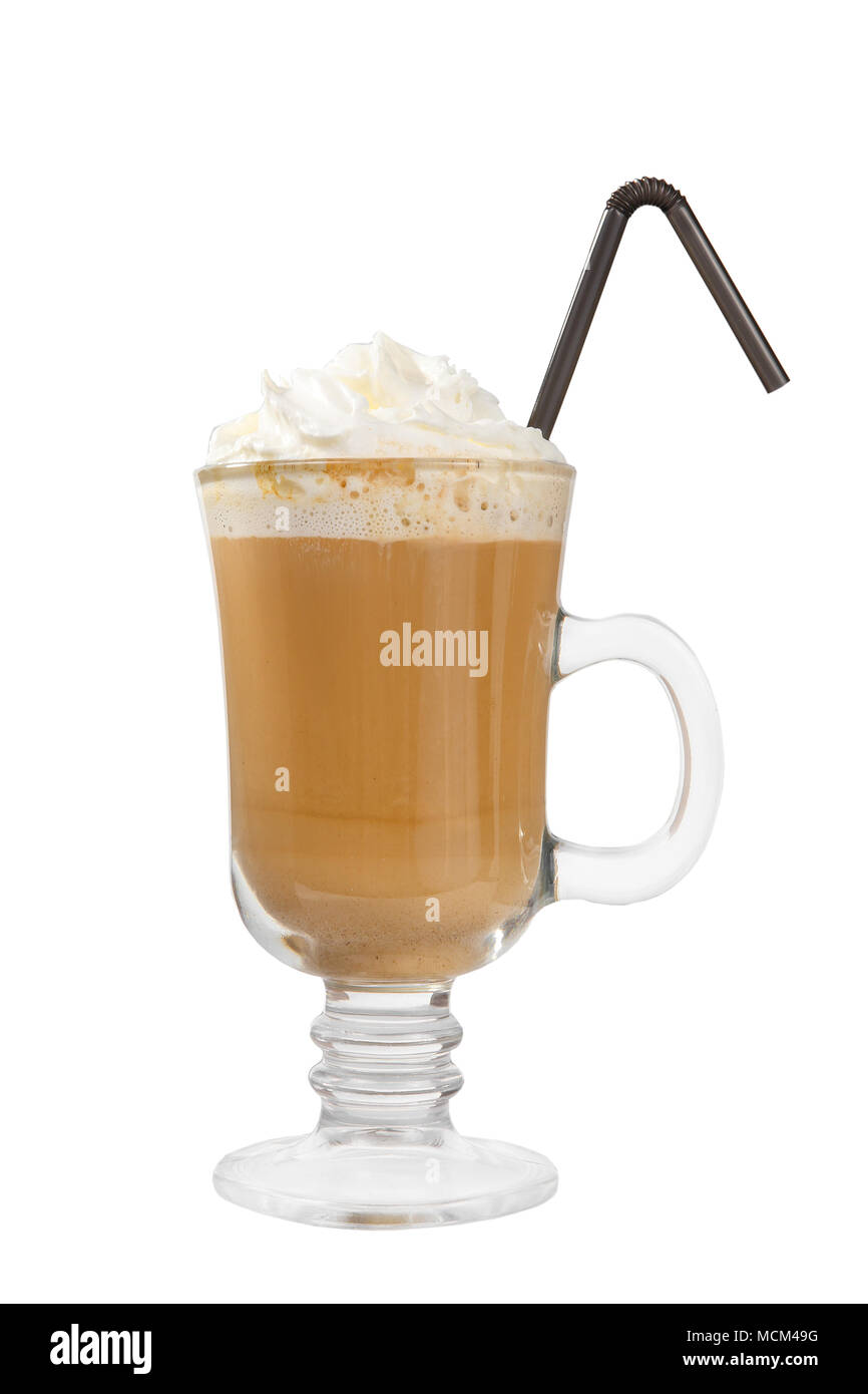 Single-color opaque cocktail, coffee with milk, cocoa, hot chocolate in a tall glass with a handle with whipped cream . Side view. Isolated white back - Stock Image