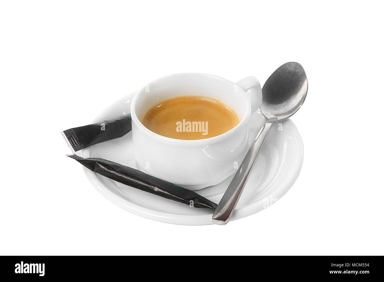 A cup of coffee, American, cappuccino, half two black packets, a dose of sugar, a teaspoon. For the technological map. Side view from above Isolated w - Stock Image