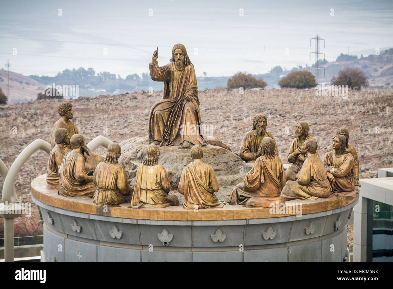 GALILEE, ISRAEL - DECEMBER 3: The statues of Jesus and Twelve Apostles in Domus Galileae on the Mount of Beatitudes near the Sea of Galilee in Galilee Stock Photo