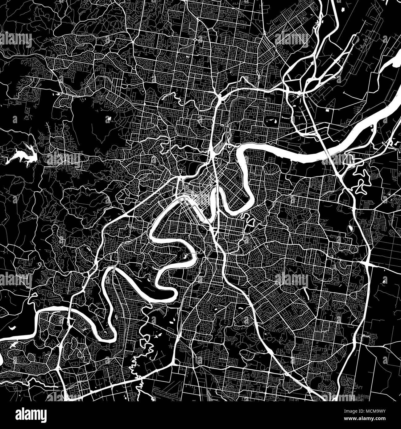 Area map of Brisbane, Australia. Dark background version for infographic and marketing projects. This map of Brisbane, Queensland, contains typical la - Stock Image