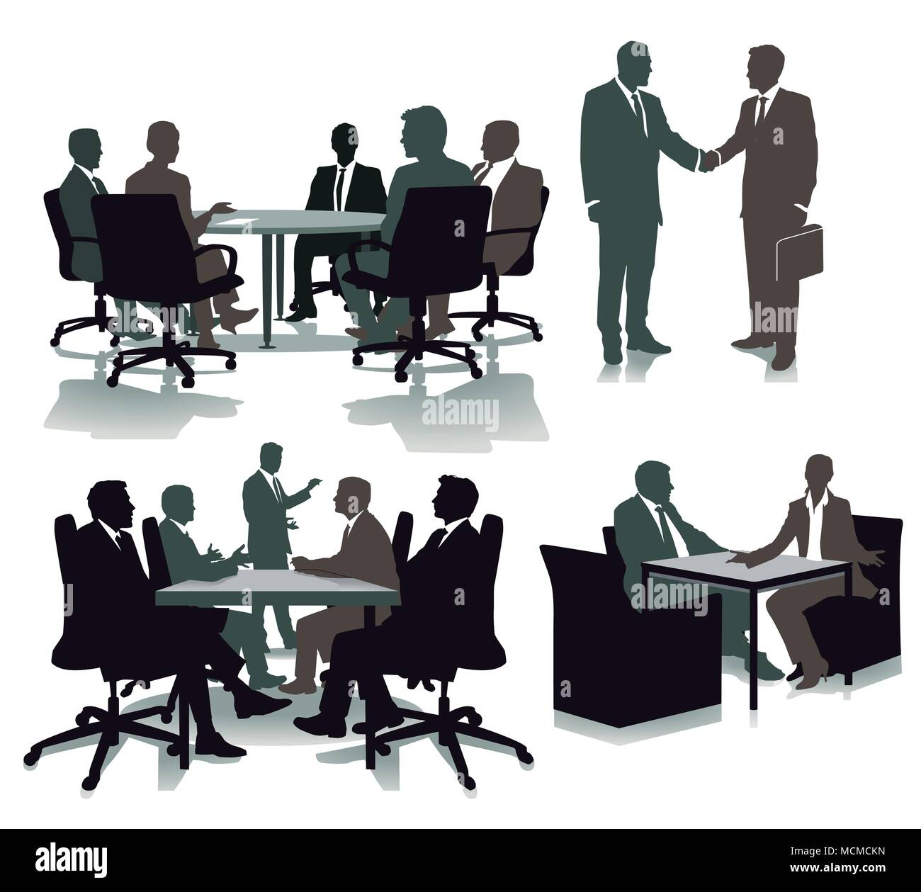 Consulting in the office, illustration - Stock Vector