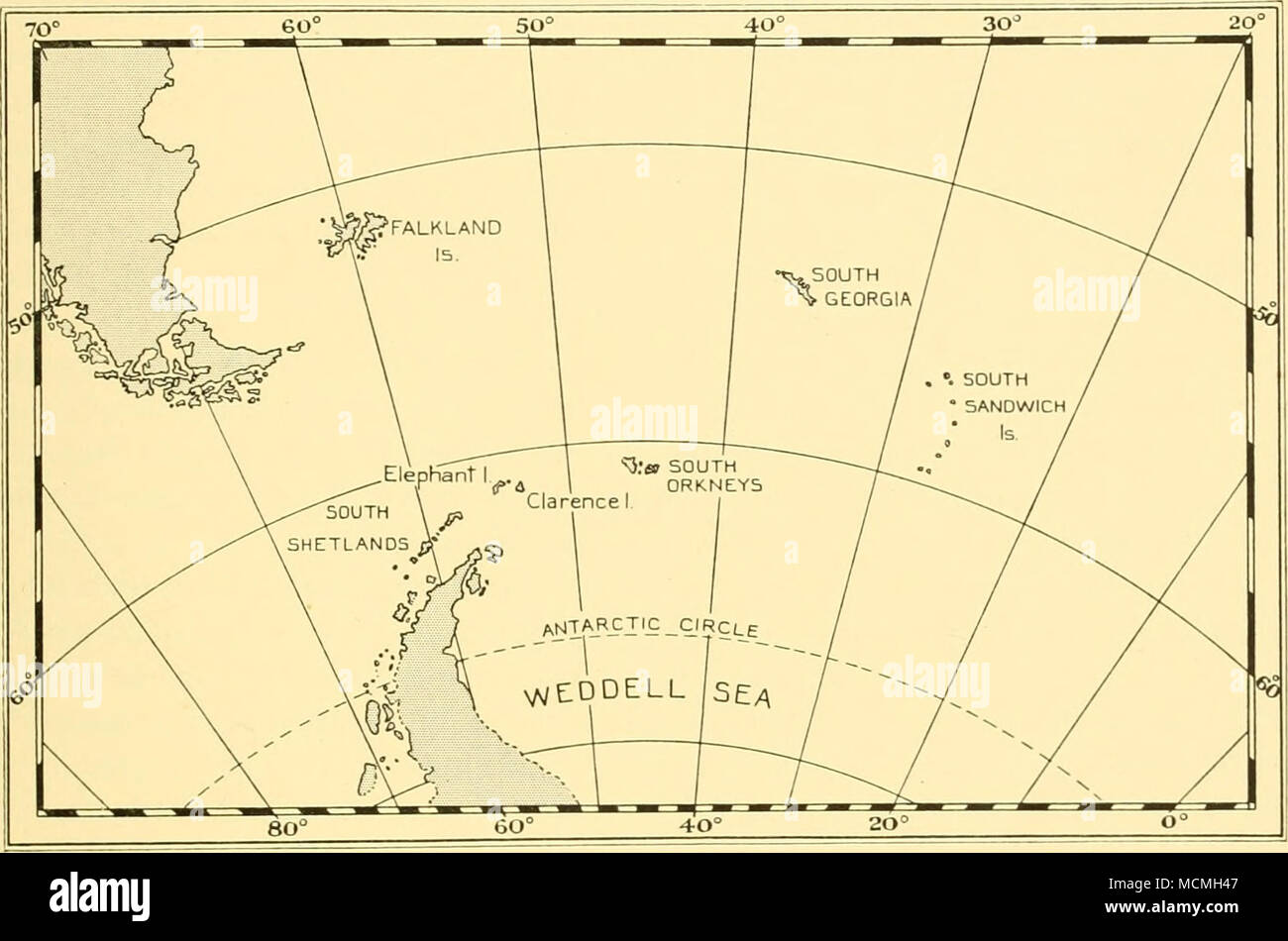 . Fig. 10. The Falkland Islands and their Dependencies. very much less. Coronation Island, the largest of the group, even at its broadest point being scarcely eight miles across. With the exception of Signy all the larger islands are extensively ice-clad, and in this as in other respects the group may perhaps be considered to be more truly Antarctic in character than the South Shetlands which lie considerably farther to the south. Lying near the Weddell Sea, the South Orkneys become involved annually in the general winter freeze-up of the Antarctic Ocean and in consequence are only accessible  - Stock Image