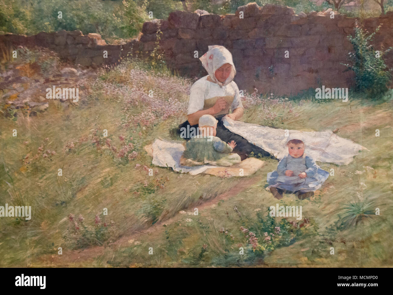 Agnes Steineger - Children and nanny (1890) - Stock Image